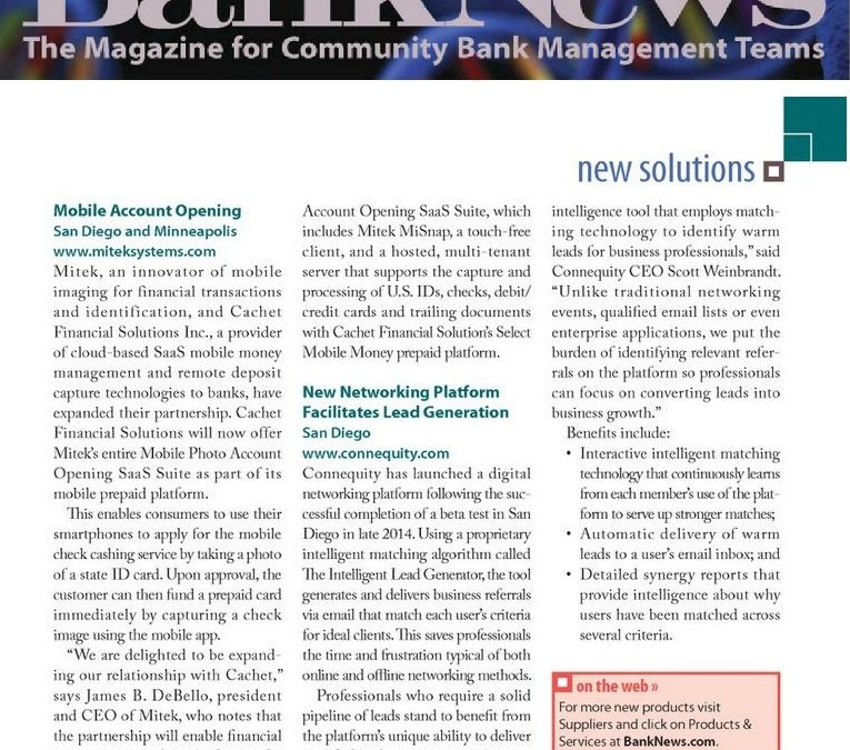 Connequity Featured in Bank News Magazine